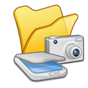 &, cameras, folder, scanners, yellow icon
