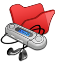 folder, mymusic, red icon