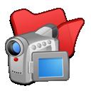 folder, red, videos icon
