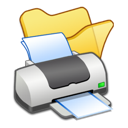 folder, printer, yellow icon