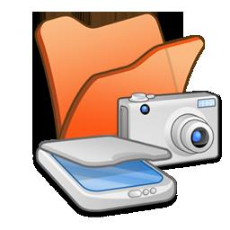 &, cameras, folder, orange, scanners icon