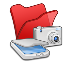 &, cameras, folder, red, scanners icon