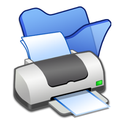 blue, folder, printer icon