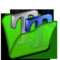 folder, font, green icon