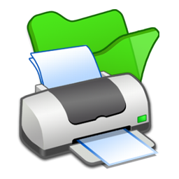 folder, green, printer icon