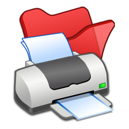 folder, printer, red icon