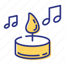 candle, listen, music, soothing icon