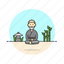 health, man, meditation, monk, religion, temple, zen icon