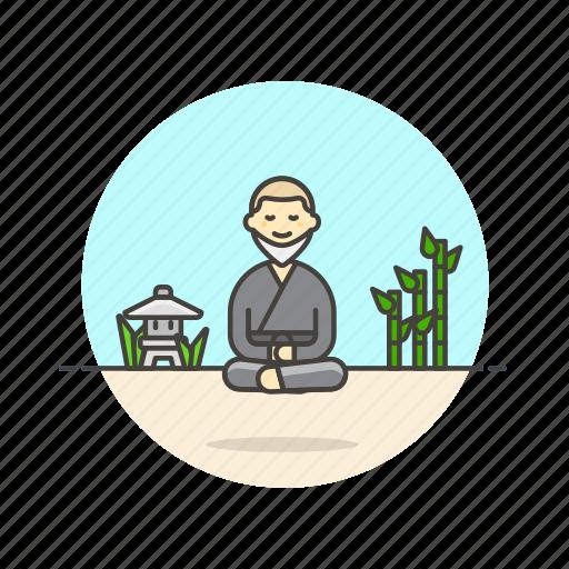 health, man, meditation, monk, religion, temple, zen icon