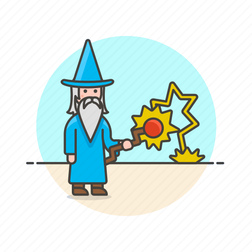 beard, fantasy, man, medieval, religion, sorcery, staff, wizard icon
