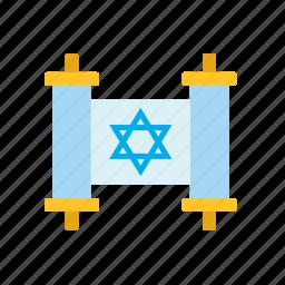 book, jewish, judaism, law, religion, religious, torah icon