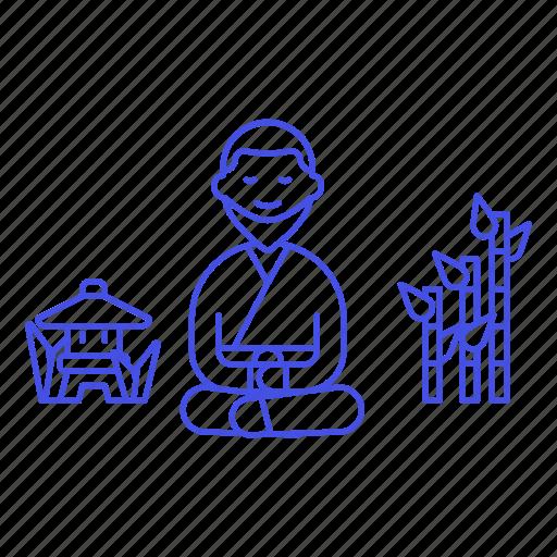 2, asian, bamboo, japanese, lantern, meditation, monk, religion, stone, toro, worship, zen icon