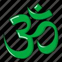 cartoon, floral, hand, heart, hinduism, om, tattoo icon