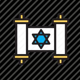holy, jewish, judaism, law, religion, text, torah icon