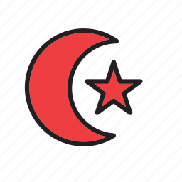 half, islam, moon, muslim, red, religion, star and crescent icon