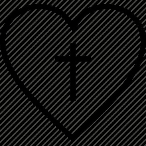 christian, cross, heart, religion icon