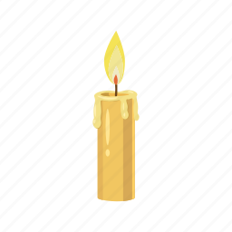 candle, cartoon, fire, flame, glow, lit, wax icon