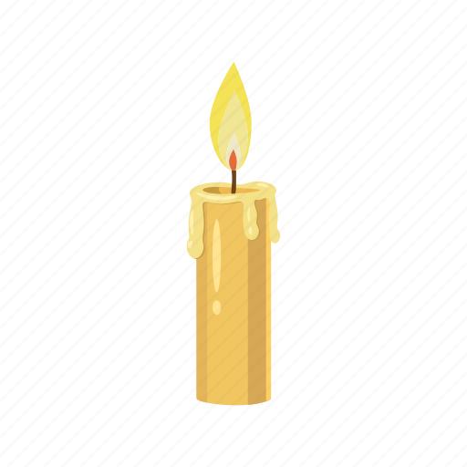 candle, cartoon, fire, flame, glow, lit, wax icon