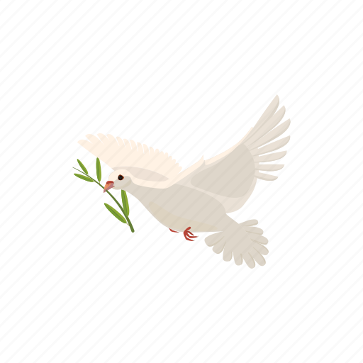 beautiful, branch, cartoon, dove, flying, olive, pigeon icon