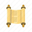 cartoon, jewish, law, old, parchment, scroll, torah icon