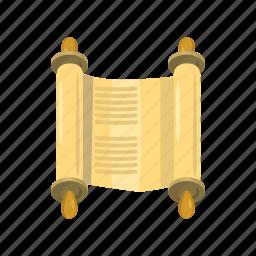 cartoon, jewish, law, old, parchment, scroll, torah icon