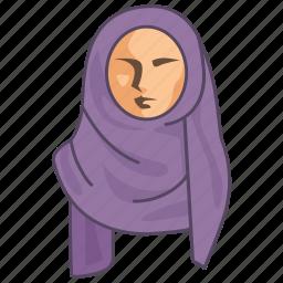 clothing, cultural, female, hijab, islamic, muslim, women icon