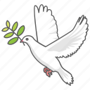 christian, dove, noah, olive, pax, peace, world icon