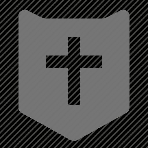 christianity, cross, religion, shield, spirituality icon