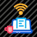 cup, drink, freelance, job, laptop, remote, work