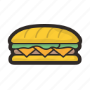 bakery, bread, burger, fastfood, hamburger, sandwich, sub icon