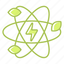 atom, energy, green technology, leaf, power, renewable energy, science icon