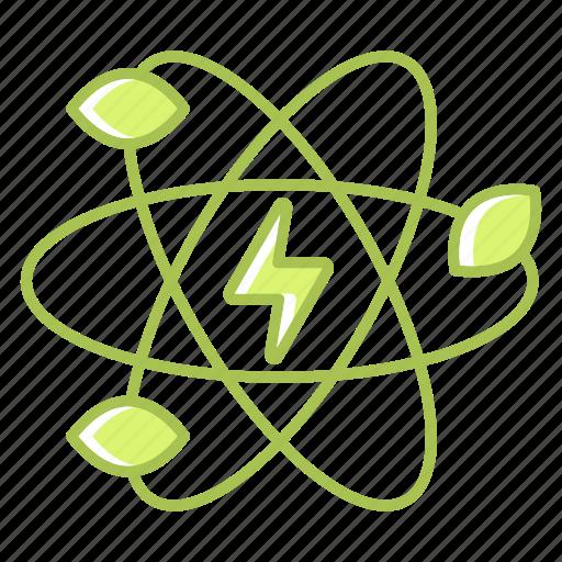 atom, energy, green technology, leaf, power, renewable energy, science icon