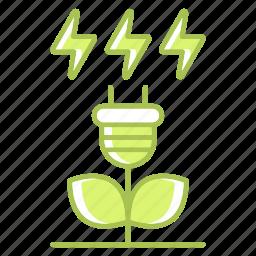 go green, green, green technology, plant, power, renewable energy icon