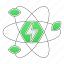 atom, energy, green technology, leaf, power, renewable icon