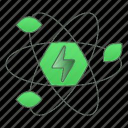 atom, energy, green technology, leaf, power, renewable icon