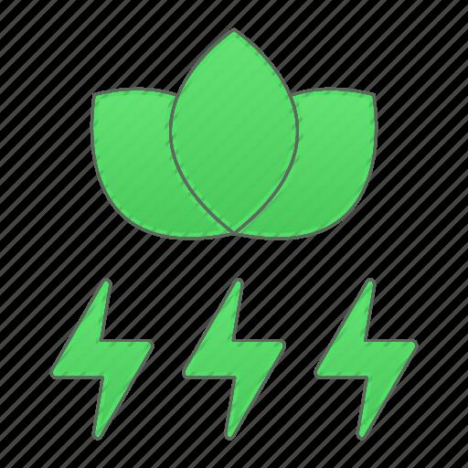 green, green technology, leaf, power, renewable energy icon