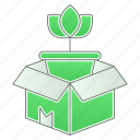 box, delivery, green technology, natural, power, product icon