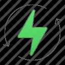 energy, green technology, power, renew, renewable icon