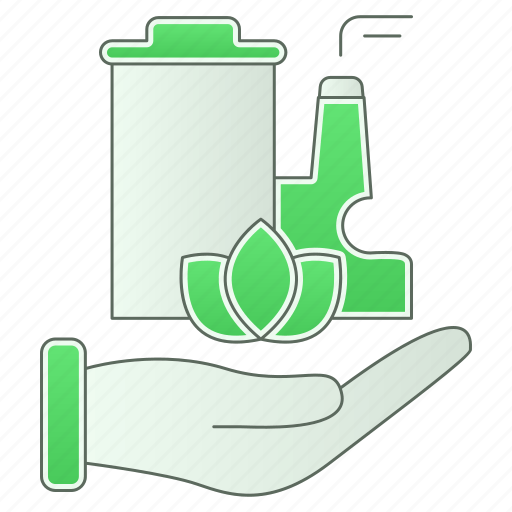 factory, green technology, hand, industry, planet, save icon