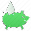 green technology, piggy, power, renewable energy, save, water icon