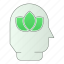 eco, green, green technology, head, nature, power, renewable energy icon