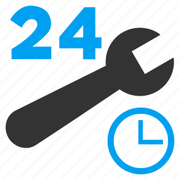 24 hours, business, clock settings, nonstop, repair tools, service time, work schedule icon