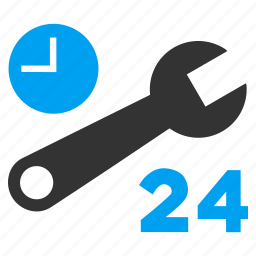 24 hours, business, clock, nonstop, repair tools, service time, work schedule icon