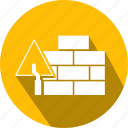 brick, brick wall, building, flat, icon, trowel, wall icon