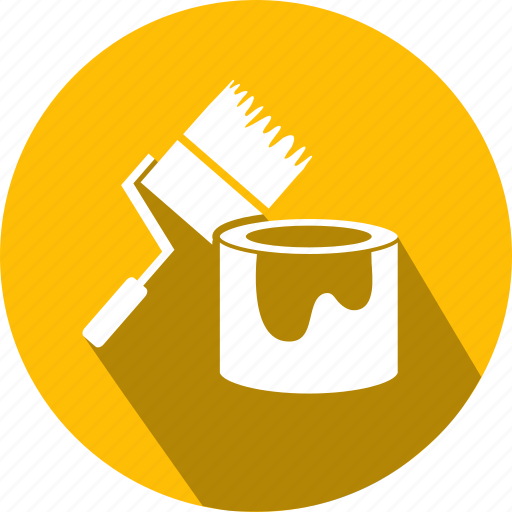 building, flat, icon, paint, repairs, roller icon