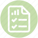 analytics, document, file, list, page, statistics, tick mark