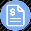 analytics, document, dollar, file, page, statistics