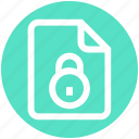 analytics, document, file, lock, page, security, statistics icon
