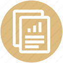 analytics, chart, graph, papers, report, sales, statistics icon