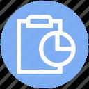 accept, analytics, chart, clipboard, file, report, statistics icon